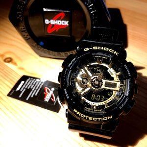 G-Shock Men's Military GA-110 Watch, Black/Gold